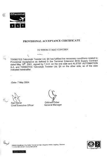 acceptance certificate