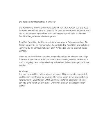 Farben der Hochschule Hannover und ihrer Fakultäten mit Definition ...