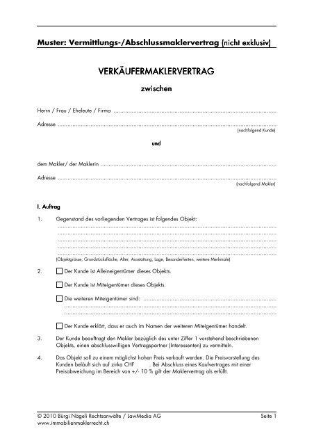 Muster Vermittlungs Abschlussmaklervertrag Immobilienmaklerrecht