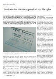 revolutionäre Markierungstechnik auf Flachglas - Laser Magazin