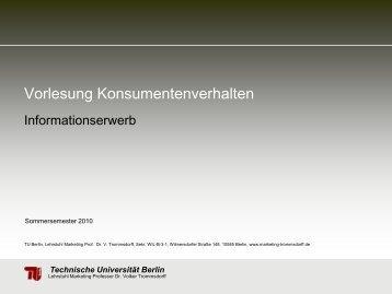 Vorlesung Konsumentenverhalten - TU Berlin