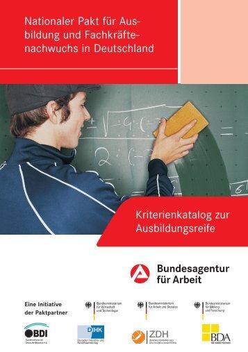 Kriterienkatalog zur Ausbildungsreife - Bundesagentur für Arbeit
