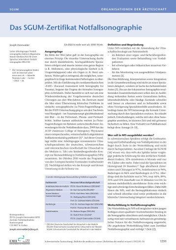 Das SGUM-Zertifikat Notfallsonographie