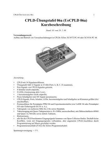 CPLD-Übungstafel 06a (UeCPLD 06a) Kurzbeschreibung