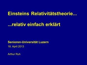 Einsteins Relativitätstheorie... ...relativ einfach erklärt - Senioren ...