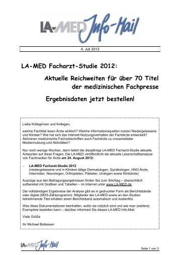 LA-MED Facharzt-Studie 2012: Aktuelle ... - bei der LA-MED
