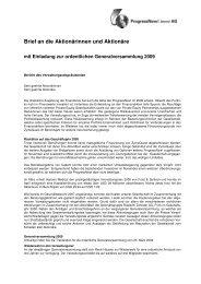 PRON Brief an die Aktionärinnen und Aktionäre 2008 - ProgressNow!