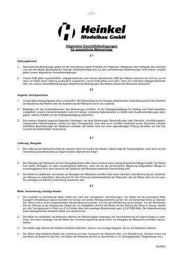 Mietvertrag für gewerbliche Räume