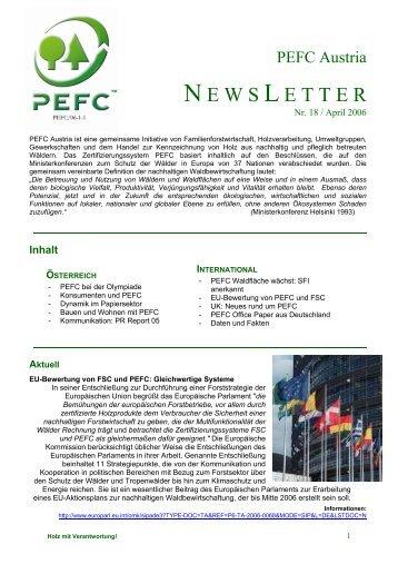 PEFC Austria Newsletter, Nr. 18, Apr.