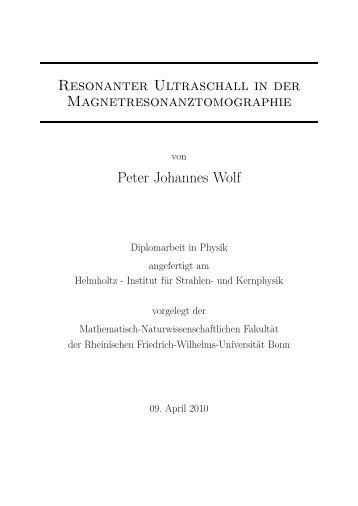 Resonanter Ultraschall in der Magnetresonanztomographie Peter ...