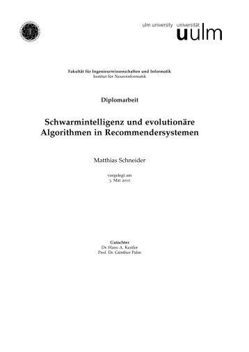 Schwarmintelligenz und evolutionäre Algorithmen in ...