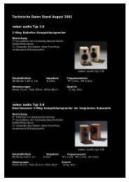 Technische Daten Stand August 2001 valeur audio ... - valeuraudio.de