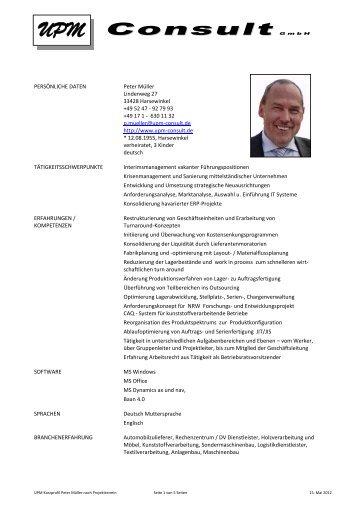 Profil Peter Müller - UPM Consult GmbH