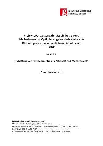 Schaffung von Exzellenzzentren in Patient Blood Management - APA