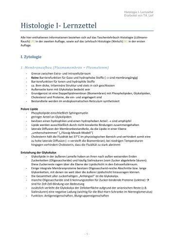 Histologie I- Lernzettel - wilmnet.de