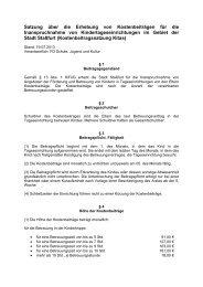 Satzung über die Erhebung von Kostenbeiträgen für ... - Stadt Staßfurt