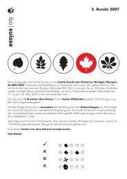 Zweite Runde 2007 - Schweizer Biologie Olympiade