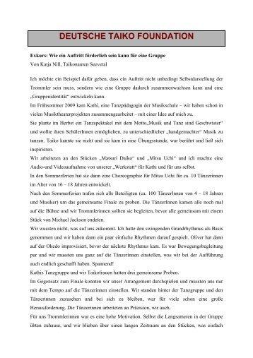 Exkurs zur Motivation durch Auftritte - Deutsche Taiko Foundation eV