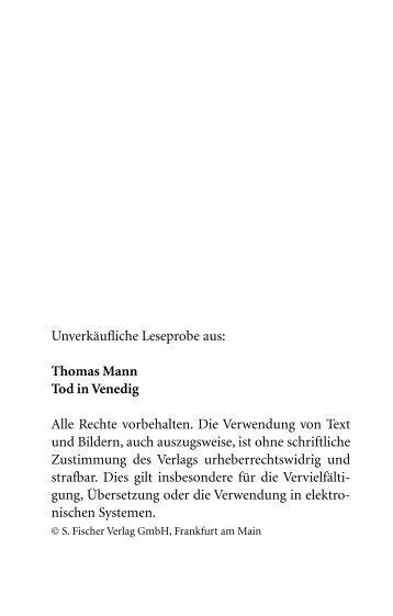 Unverkäufliche Leseprobe aus: Thomas Mann Tod in Venedig Alle ...