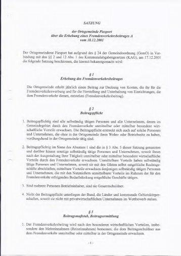 Satzung über die Erhebung eines ... - Piesport