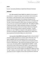 MEMS Keywords: Micromachining, Microfabrication, Integrated ...