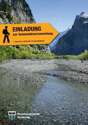 Botschaft - Einwohnergemeinde Kandersteg