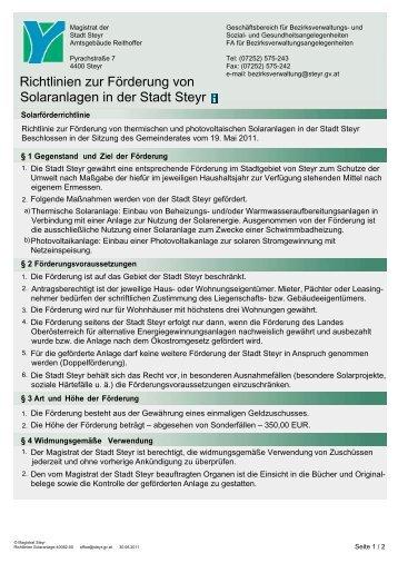 Richtlinien zur Förderung von Solaranlagen in der Stadt Steyr