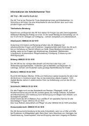 Informationen der Arbeiterkammer Tirol - Swarovski Betriebsrat