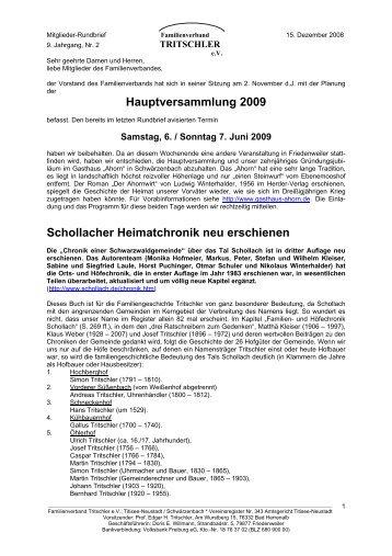 Hauptversammlung 2009 Schollacher Heimatchronik neu erschienen
