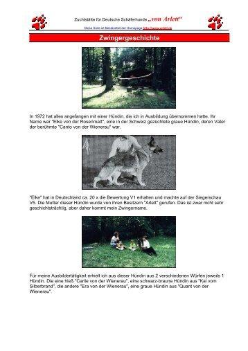 Geschichte des Zwingers - Von Arlett