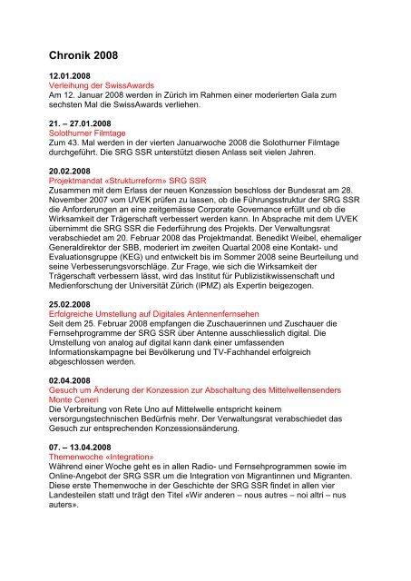 Chronik 2008 - SRG SSR