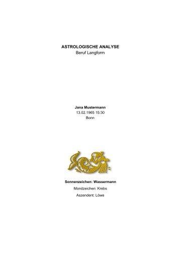 ASTROLOGISCHE ANALYSE Beruf Langform