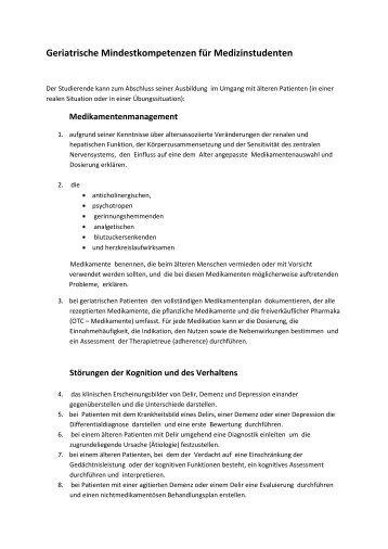 Geriatrische Mindestkompetenzen für Medizinstudenten - AFGiB