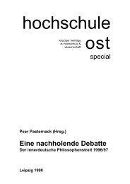 Eine nachholende Debatte. Der innerdeutsche ... - Peer Pasternack