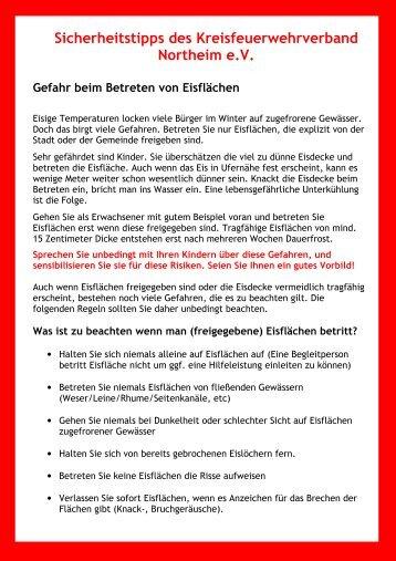 Sicherheitstipps des Kreisfeuerwehrverband Northeim eV Gefahr ...
