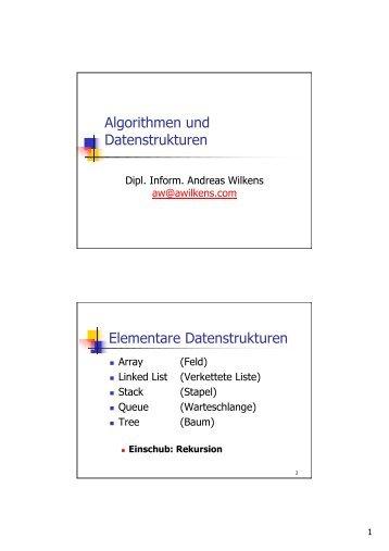 Algorithmen und Datenstrukturen Elementare Datenstrukturen