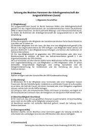 Satzung des Juso Bezirks Hannover, Stand 2013 - Jusos Bezirk ...