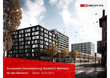 Europaallee Gesamtplanung, Baufeld H: Mehrwert für den ... - SGNI