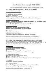 Kurs- und Seminarinhalte - Institut für Anatomie I