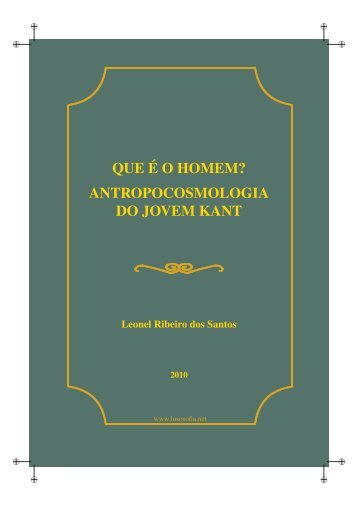 Antropocosmologia do Jovem Kant - LusoSofia