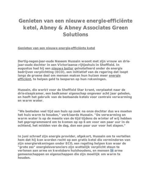 Genieten van een nieuwe energie-efficiënte ketel, Abney