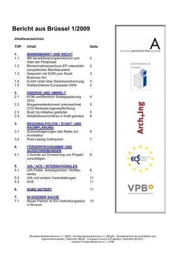 Bericht aus Brüssel 01/2009