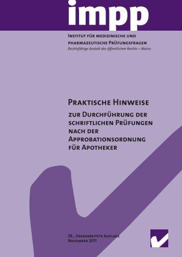 Praktische Hinweise zur Durchführung der schriftlichen ... - IMPP