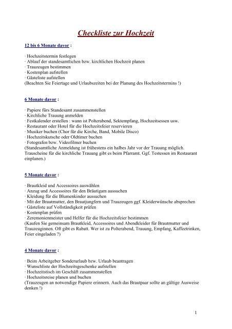 Checkliste Zur Hochzeit A Piacere