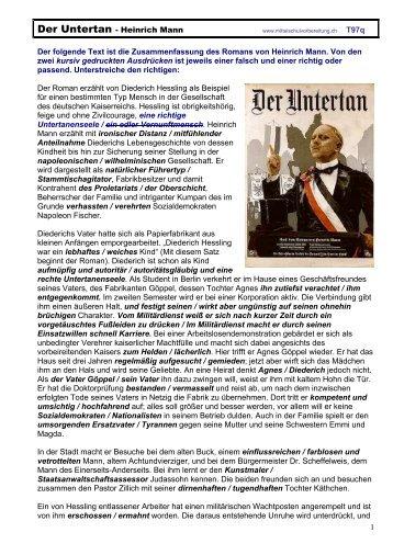 Der Untertan - Heinrich Mann - Mittelschulvorbereitung Deutsch