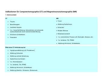 Indikationen CT und MR - Radiologie