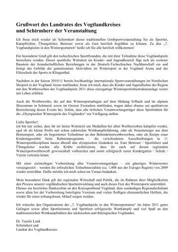 Grußwort des Landrates des Vogtlandkreises und Schirmherr der ...