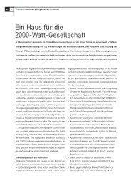 Ein Haus für die 2000-Watt-Gesellschaft - Minergie