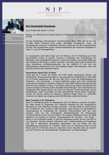 Drei Hauptstädte Russlands - N-J-P Rechtsanwälte