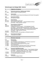 Bemerkungen zum Budget 2009 - Internet - Gemeinde Sirnach